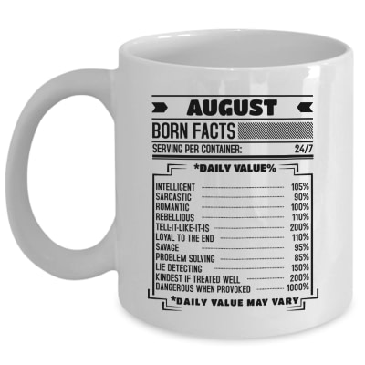 August Born Facts black 11 oz