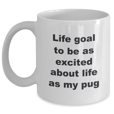 Custom Personalized Pet Coffee Cup – Life Goal To Be As Excited About Life