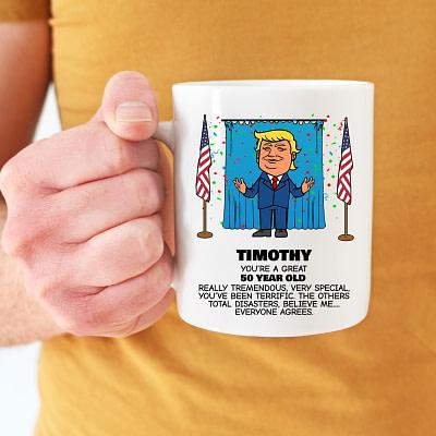 Custom Personalized Trump Birthday Mug – Everyone Agrees (Confetti)