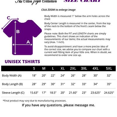 Unisex Tshirt Size Chart
