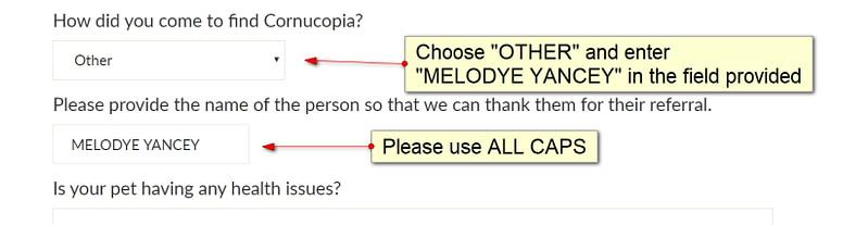 Enter MELODYE YANCEY as referral